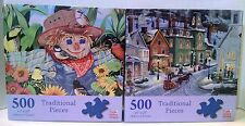 Fall & Winter Jigsaw Puzzles Scarecrow Songbirds Bits & Pieces Snow Town holiday