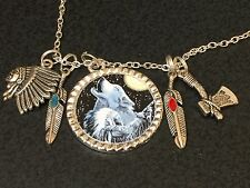 "Wolf Howling & Indian Chief Mix Charm Tibetan Silver with 18"" Necklace BIN"
