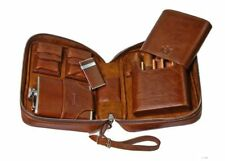 BRIZARD & CO HAVANA TRAVELER ANTIQUE SADDLE LEATHER CIGAR CASE FLASK LIGHTER CUT