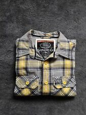 Mens superdry flannel lumberjack  shirt size medium yellow grey and white check