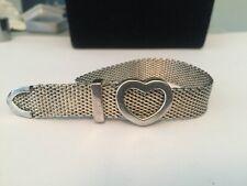"tiffany and co silver mesh heart bracelet rare elsa peretti signed piece 8.5"""