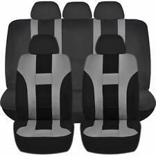 9PC DOUBLE STITCH GRAY & BLACK POLY SEAT COVERS SET for CARS 1025