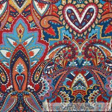 BonEful FABRIC FQ Cotton Quilt VTG Rain*bow Red Heart Flower Paisley Gypsy Print