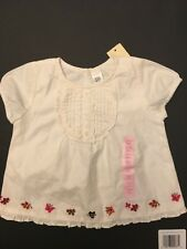 NWT BABY GAP GIRLS 3-6 MONTHS RUFFLE PLACKET FRONT BUTTERFLY EMBROIDERED TOP TEE