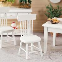 1:12 DIY Puppenhaus Miniatur Esszimmermöbel Holz Weiß Stuhl Dekor
