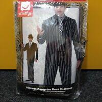 Mens 20s 1920s Gold Pinstripe Gangster Costume Male Boss Razzle Fancy Suit XL