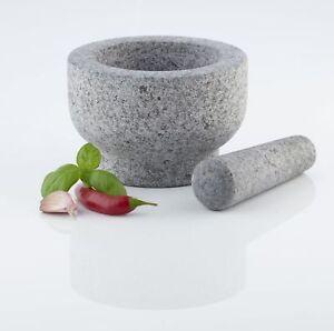 XXL Mörser Stößel Granit Granitmörser Zerkleinerer Gewürze Reibe Küche Ø 15 cm