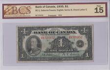 1935 BANK OF CANADA $1 DOLLAR B1723152 OSBORNE - TOWERS, ENGLISH BCS F-15 NOTE