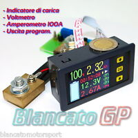 INDICATORE DI CARICA Ah VOLTMETRO 90V AMPEROMETRO 100A LCD DC batteria capacità
