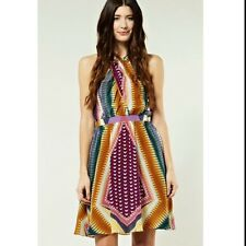 Warehouse Beautiful Silk Colour Block Tribal Wedding Party Skater Dress Size 6
