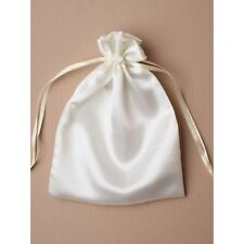 NEW 12 Ivory satin fabric organza drawstring favour bags wedding party 18x13cm