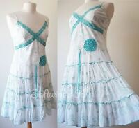 NEW White//Turquoise Blue Crochet Embroidery Accent Summer Beach Cotton Sun Dress