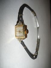 Vintage Herna Swiss lady`s 14k gold with diamonds watch wristwatch 17 jewels