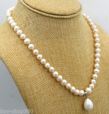 7-8mm White Akoya Cultured Pearl & Shell Pearl Pendant Necklace 18""