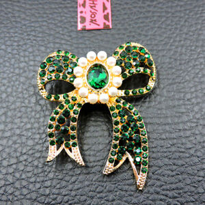 Hot Green Crystal Ornate Pearl Bowknot Betsey Johnson Charm Brooch Pin Gift