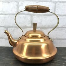 Old Dutch Solid Copral Copper Pot Wood / Brass Handle Made In Portugal