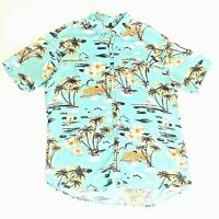 Super Massive Men's XL Aloha Hawaiian Camp Shirt Outrigger Palm Trees Hibiscus