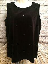 Quacker Factory Womens Blouse L Black Velvet Rhinestone Embellished Sleeveless