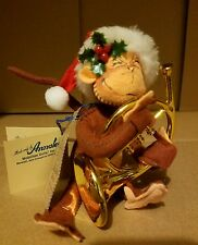 "Annaleee Dolls 5"" Christmas Monkey with French Horn year of issue 1998 With Tag!"