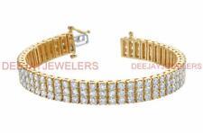 Diamond Tennis Bracelet Triple 15.03ct 14k Yellow Gold 3 Row Made in USA