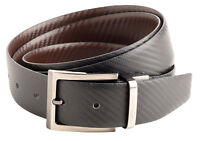 "Mens 30mm 1.25"" Genuine Leather Carbon Fibre Belt 32"" 34"" 36"" 38"" Black Brown"
