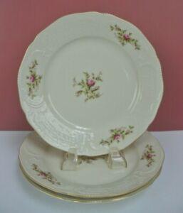 Vintage Set of 3 Rosenthal Classic Rose Sanssouci Moosrose Ivory Salad Plates