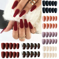 24Pcs/Set Matte False Nails Tips Frosted Full Cover Tools With Glue Nail Decor