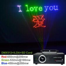 500mW RGB Laser SD Card ILDA 24CH DMX Animation Projector Show DJ Stage Lighting