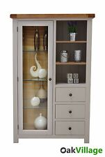 Tuscan Grey Painted Oak Glass Display Unit / Glazed Display Cabinet / Brand New