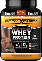 Body Fortress Super Advanced Whey Protein Powder Gluten Free Chocolate 5 lbs