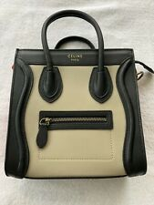 Celine Tricolor Mini Luggage Bag Leather •Authentic • Light Taupe/Black/Red