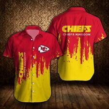 Kansas City Chiefs Summer Football Shirts Men's Short Sleeve Button-up T-Shirts