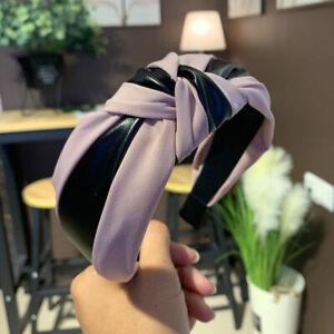 Women's Fabric with PU Leather Tie Headband Hairband Hair Band Hoop Accessories