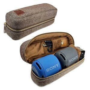 Tuff-Luv Herringbone Tweed NFC Case for 2 x Sony XB Bluetooth Speakers - Brown