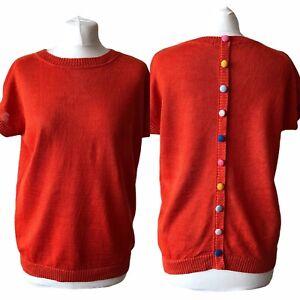 Boden 100% Linen Orange Short Sleeve Jumper Multicolour Button Back Size M NWOT