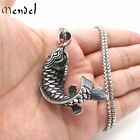 MENDEL Mens Fishing Articulated Fish Pendant Necklace Vintage Stainless Steel 3D