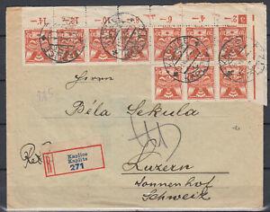 CZECHOSLOVAKIA 1926 Reg cover to Swiss - nice franking / RRR !!!