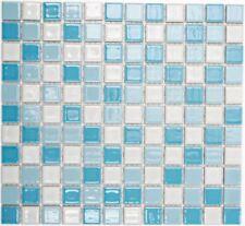Mosaïque carreau céramique bleu blanc brillant cuisine mur 18-0407_f |10 plaques