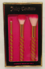 JUICY COUTURE - 3 pc - COSMETIC Makeup Pink & Gold BLING BLING BRUSH SET *NEW