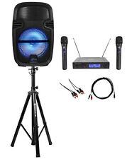 "Technical Pro 8"" Rechargeable Bluetooth Karaoke Machine System+(2) Wireless Mics"