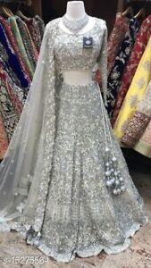 Lehenga Choli Bollywood Sari Designer Silver Lehenga Partywear Hochzeit Lehenga