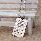 Stainless Steel Army Friendship Dog Tag Pendant Chain Silver Vouge Necklace lp