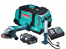 Makita DGA452 - 2x BL1840 - 1x DC18RC - 1x LXT400 Heavy Duty Bag - 1x BML184
