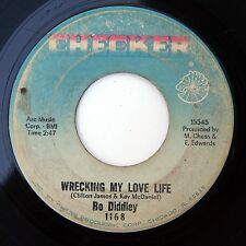 HEAR Bo Diddley 45 Wrecking My Love Life/Boo-Ga-Loo Before CHECKER 1168 R&B soul
