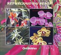 Benin 2011 CTO Orchids Orchid 4v M/S Flower Flowers Stamps