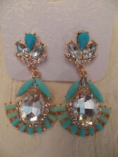 NEW COSTUME JEWELRY EARRINGS Gold Tone Faux Blue Turquoise Crystal Drop CHIC!