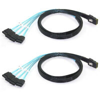 2x Mini 12Gbps SAS SFF-8087 36Pin to 4 SATA 7Pin HDD Hard Drive Splitter Cable