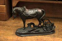 Escultura en Bucle Caballo Con Ruedas De Remolque/Estatua En Bronce