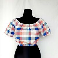 Asos Womens Off Shoulder Crop Top 8 Balloon Sleeve White Blue Red Ruched Checked