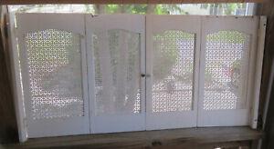 Vintage Pair of White SHUTTERS or PIE SAFE DOORS Wood Frame Metal Inserts